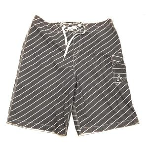 Oakley Gray White Striped Swim Trunks Board Shorts